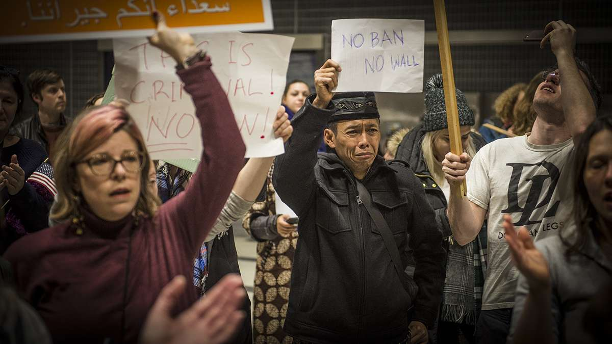 Protesters angered by President Donald Trump's executive order that prevented refugees, visa and green card holders from entering the US chant pro-immigration slogans at Philadelphia International Airport. (Branden Eastwood for NewsWorks)