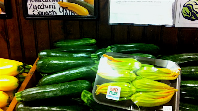 Zucchini, and blossoms, at Duffield's Farm Market in Gloucester County. (Amy Z. Quinn/NewsWorks)