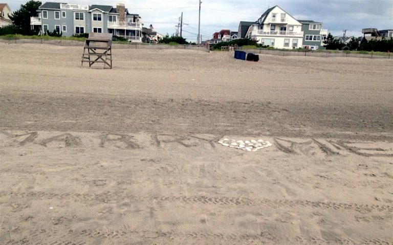 Someone spelled out 'Marry Me' in the sand. Photo courtesy Chuck Collins
