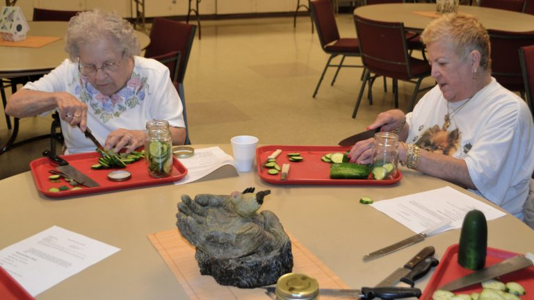 Amelia Weksel (left) and Eileen Conway slice cucumbers to pickle during the Senior Day Camp at The Salvation Army's Roxborough Corps Community Center. (Joel Frady/ for NewsWorks)