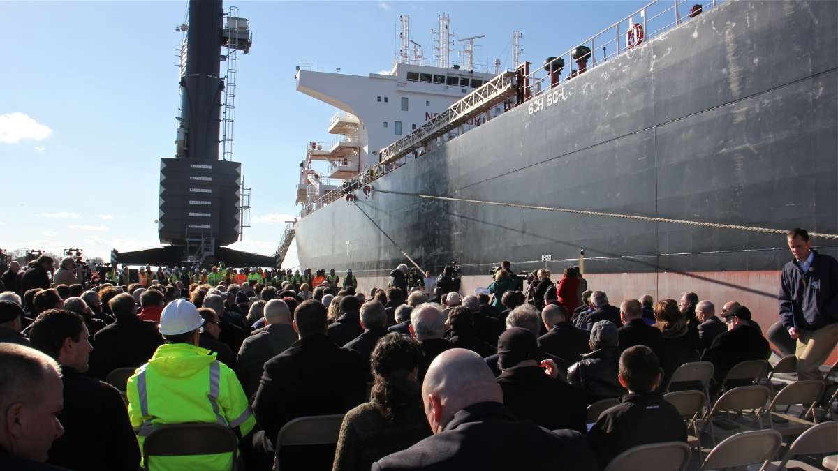 A crowd gathers at the Paulsboro Marine Terminal to welcome the first ship to dock at the new port, carrying a load of steel. (Emma Lee/WHYY)