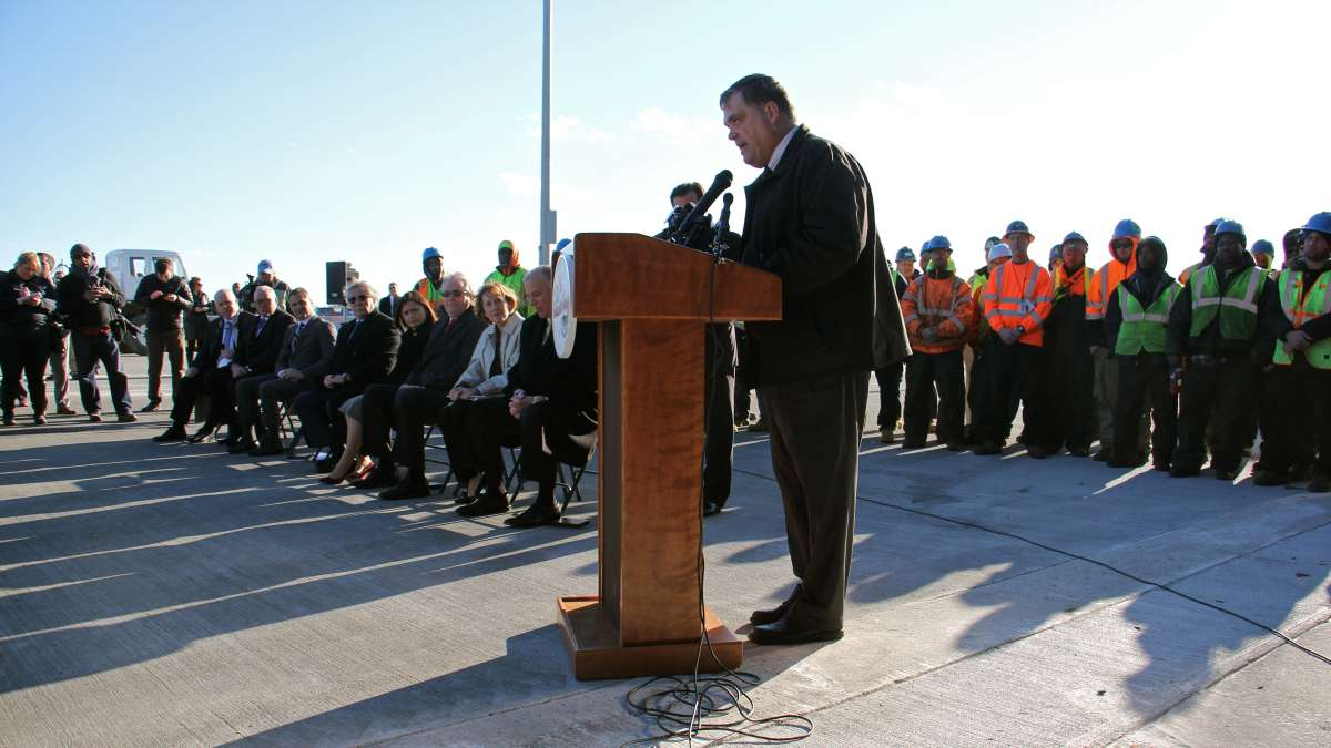 Paulsboro Mayor Gary Stevenson likens the new marine terminal to the movie, ''Field of Dreams.'' (Emma Lee/WHYY)