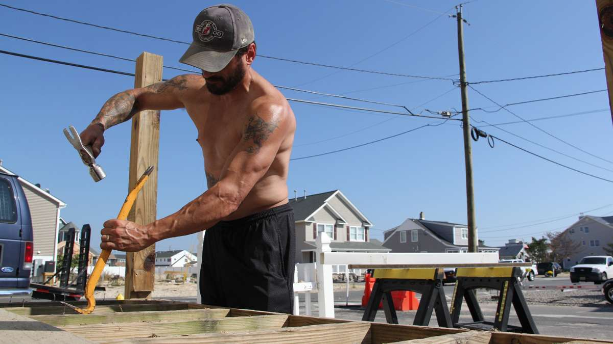Carpenter Bill Lee of Jackson and other contractors have found more work than they can handle at New Jersey shore towns. (Emma Lee/for NewsWorks)