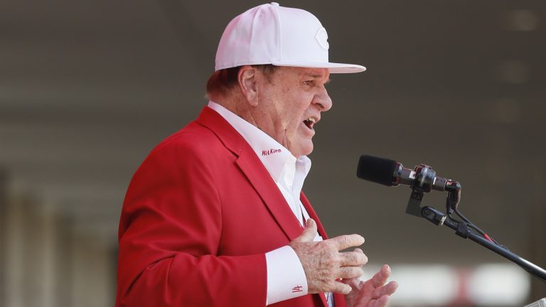 Former Cincinnati Reds player Pete Rose speaks during his statue dedication ceremony before a baseball game between the Cincinnati Reds and the Los Angeles Dodgers, Saturday, June 17, 2017, in Cincinnati. (John Minchillo/AP Photo)