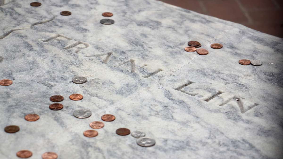 An urban legend claims that damage to Franklin's gravestone was caused by visitors dropping pennies on the marble, but the recently repaired crack was more likely caused by a renovation in the 1950s that resulted in poor drainage.