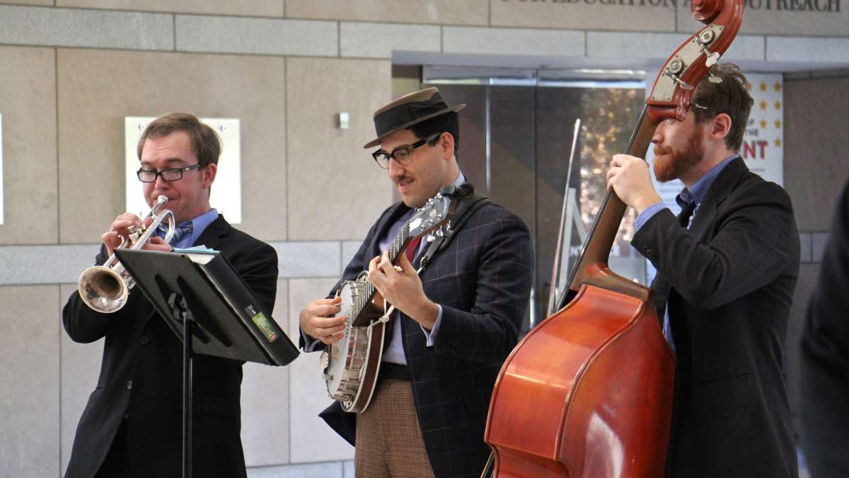 The Perseverance Jazz Band plays ''Hail to the Chief'' after a swearing-in ceremony at the National Constitution Center.