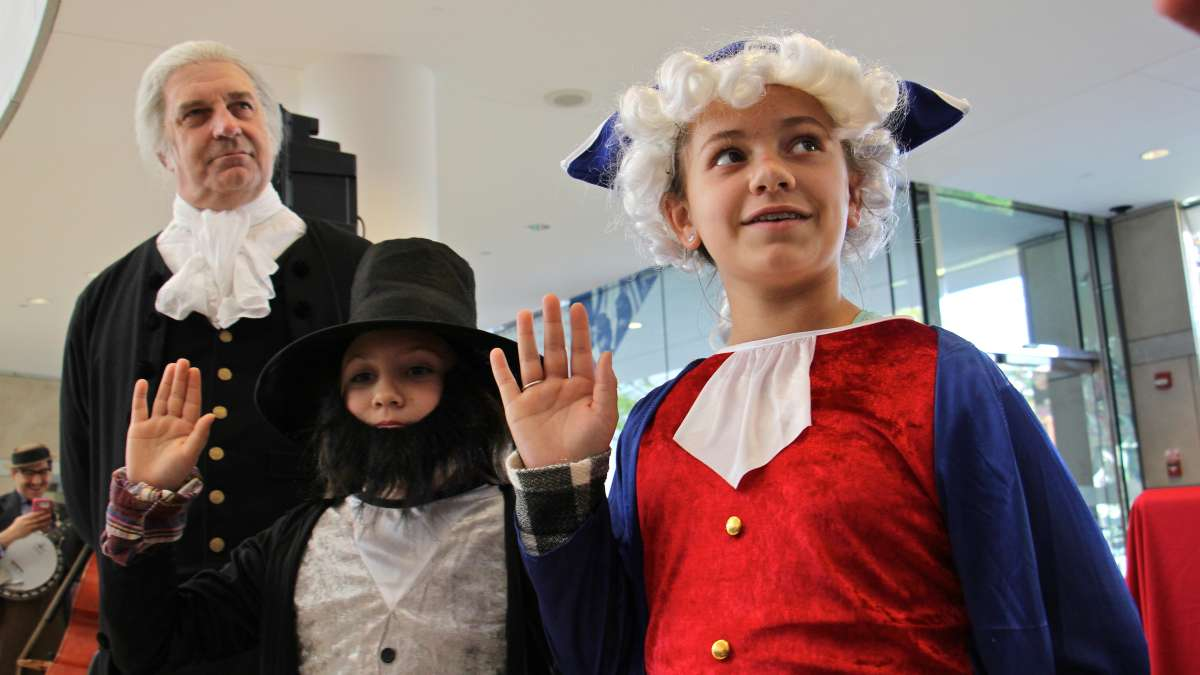 Rylee Decker of Newtown, Pennsylvania, takes the Oath of Office dressed as George Washington.