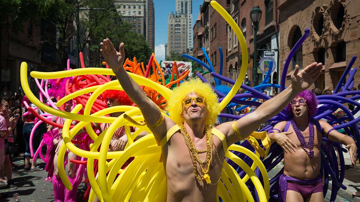Members of the Philadelphia Gay Men's Chorus ham it up for the camera at the Philadelphia Pride Parade and Festival. (Branden Eastwood for NewsWorks)