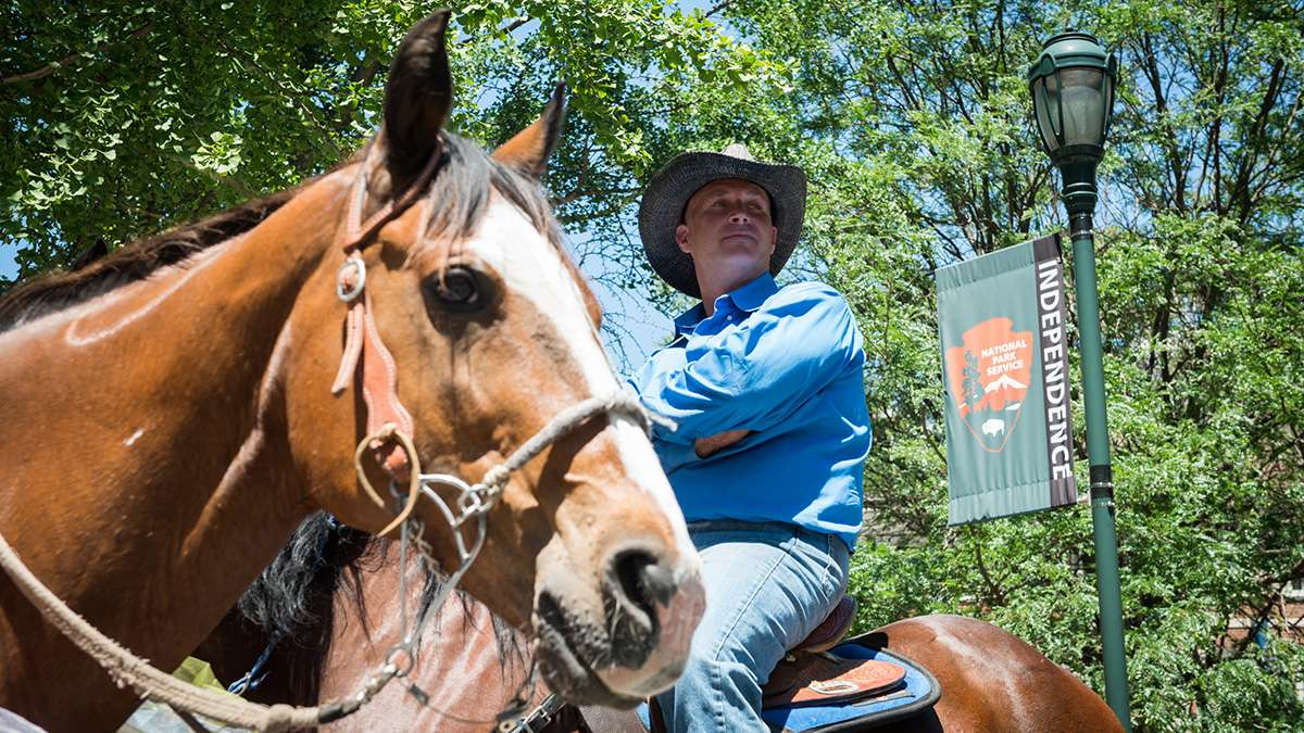 Jim Shaw is one of the many members of Keystone State Gay Rodeo Association to take part in Pride. (Branden Eastwood for NewsWorks)