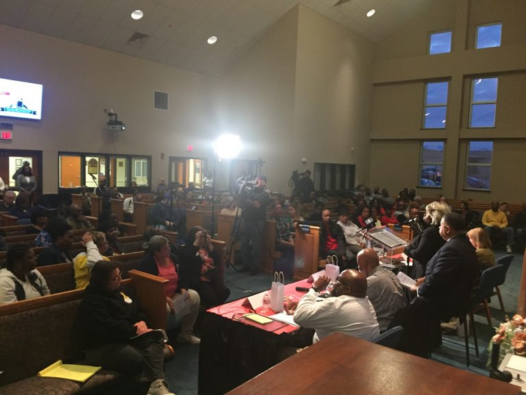 Nearly 200 people attended a town hall on Delaware prison reform Monday night. Many said prisoners are routinely subjected to abuse by guards and inadequate health care. (Cris Barrish/WHYY)