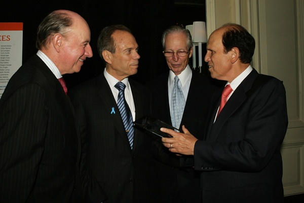 <p><p>Founding event cochairs Clay Hamlin of LBCW Investments and Neal Rodin with J. Eustace Wolfington and Mike Milken, founder and chair of the Prostate Cancer Foundation (Photo courtesy of Deborah Boardman)</p></p>