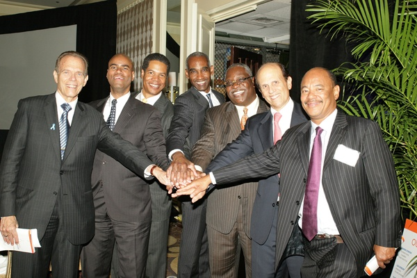 <p><p>Founding event cochair Neal Rodin (left), Thor Booker, Joe Watkins, Ed Covington, Osagie Imasogie, Mike Milken, founder and chair of the Prostate Cancer Foundation, and Kneeland Youngblood (Photo courtesy of Deborah Boardman)</p></p>