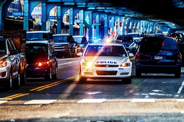 Philadelphia police patrol a stretch of Kensington Avenue. Since January, police have made 633 prostitution arrests.