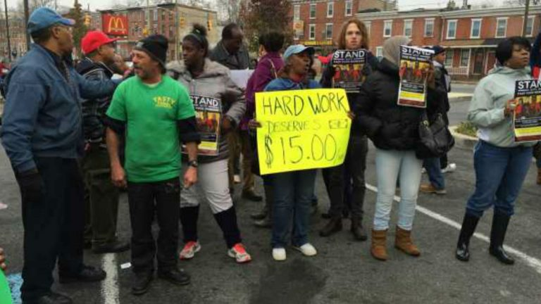 Fast food workers protest in Wilmington for an increase in minimum wage. (File/WHYY)