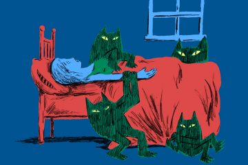 During sleep paralysis, many people see a strange presence in their room. (Illustration by Steve Teare)