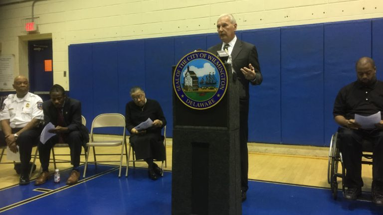 Wilmington Mayor Mike Purzycki announces plans to improve conditions in the city's West Center City section. (Zoë Read/WHYY)