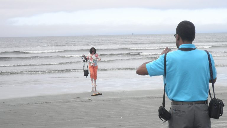 R. Eric Thomas' father is shown taking a picture of his mother in Crescent City, Calif.