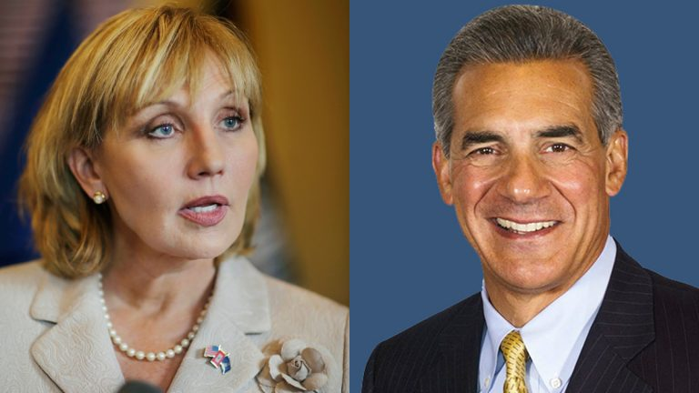 Lt. Gov. Kim Guadagno and Assemblyman Jack Ciattarelli are vying for the Republican nomination in the New Jersey governor's race. (AP file photo, left, jack4gov.com, right)