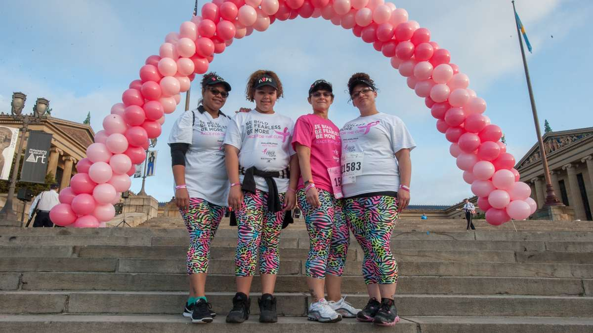 Breast cancer survivor Sherri Kramer (third from left) poses with family members Mia Rodriguez, Jayli Rodriguez, and Britney Kramer.
