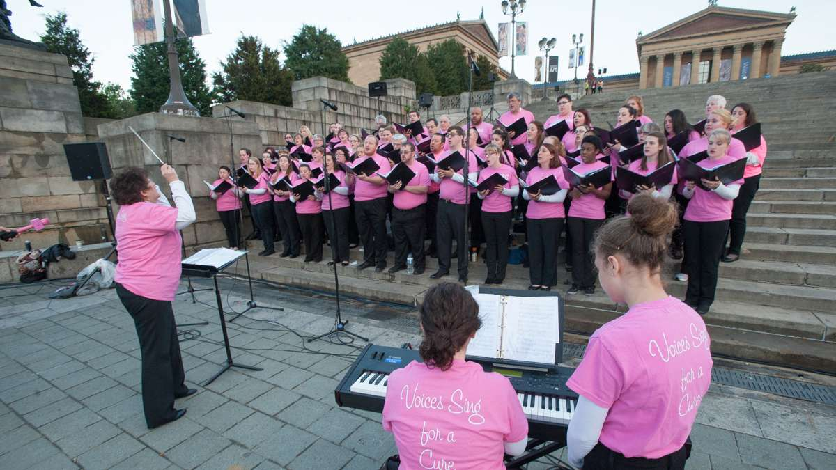 Voices of Gwynedd perform on the steps of the Philadelphia Museum of Art.