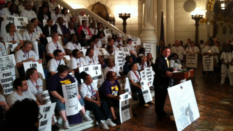 An estimated 350 state and public sector workers have rallied at the state Capitol to encourage more funding for education and human services. (Mary Wilson/for NewsWorks)