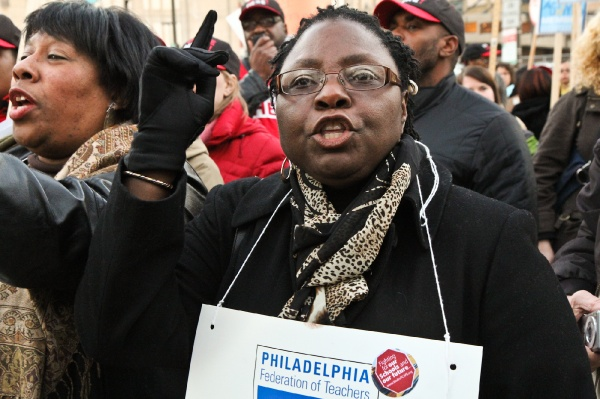 <p>&lt;p&gt;AMY Northwest teacher Theresa Lewis-King chanted &quot;shame on you&quot; with the crowd. (Kimberly Paynter/WHYY)&lt;/p&gt;</p>