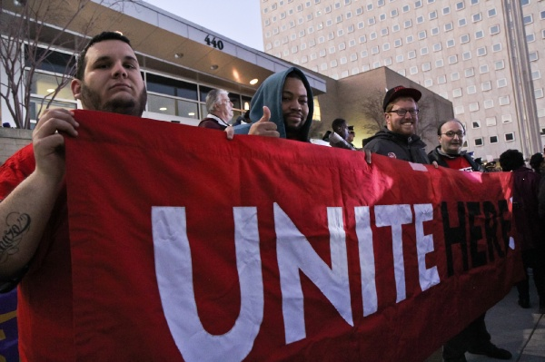 <p><p>Rich Costanzo, Floyd Steadly, Jesse Seitel and Joe Pags attended the rally to represent Local Unions 634, 54, and 274. (Kimberly Paynter/WHYY)</p></p>