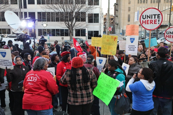 <p><p>The Philadelphia Coalition Advocating for Public Schools organized a rally in reaction to an announcement to close 37 school buildings Thursday. (Kimberly Paynter/WHYY)</p></p>
