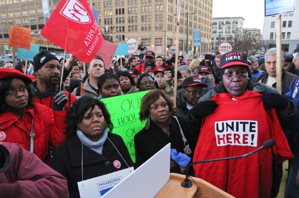 <p><p>Community members were invited to the podium to share their concerns about the future of Philadelphia public schools at a rally on the steps of the school district building Thursday. (Kimberly Paynter/WHYY)</p></p>