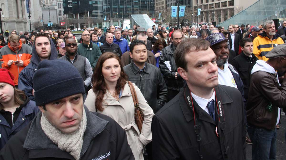 A crowd fills Dilworth Park during a rally to demand federal funding for public transportation, roads, bridges and rail systems. (Emma Lee/WHYY)
