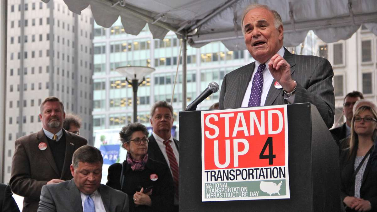 Former Pennsylvania Gov. Ed Rendell speaks at a rally on Dilworth Plaza urging federal funding for transportation infrastructure improvements. (Emma Lee/WHYY)