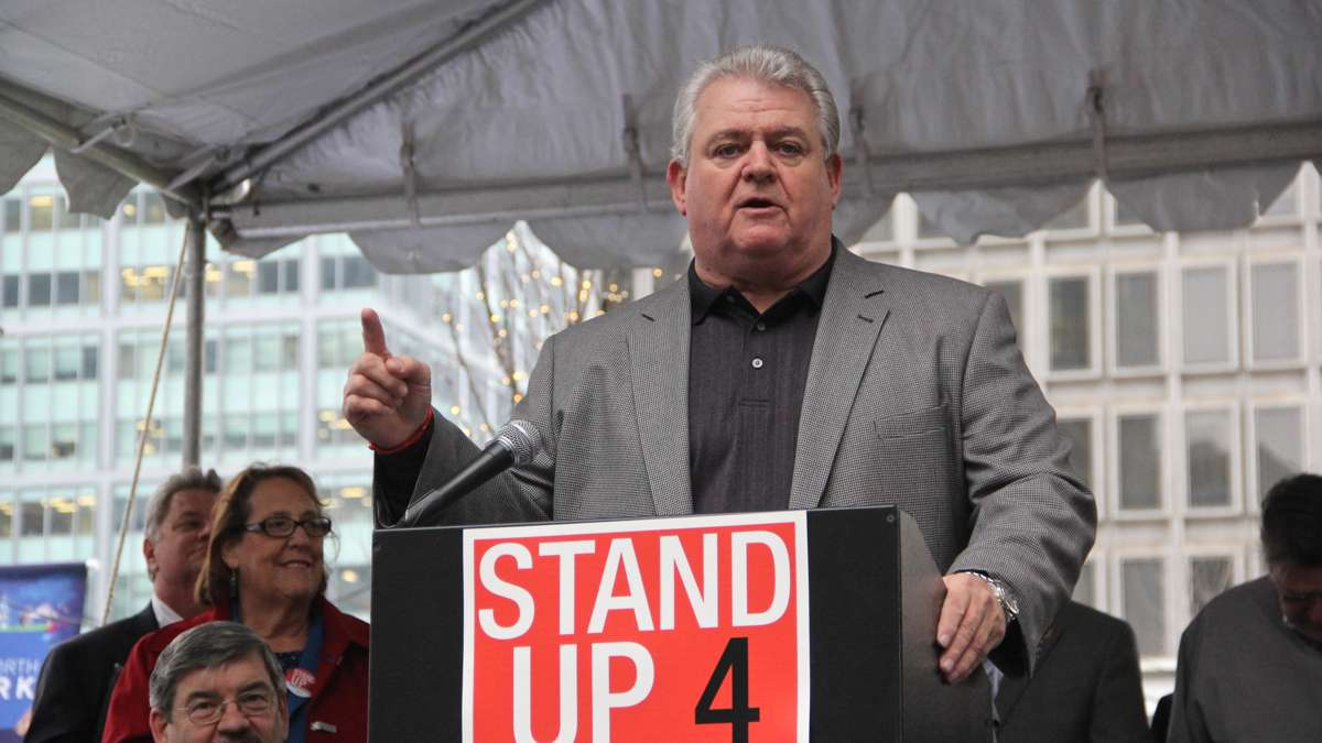 U.S. Rep. Robert A. Brady speaks at a rally on Dilworth Plaza urging federal funding for transportation infrastructure improvements. (Emma Lee/WHYY)