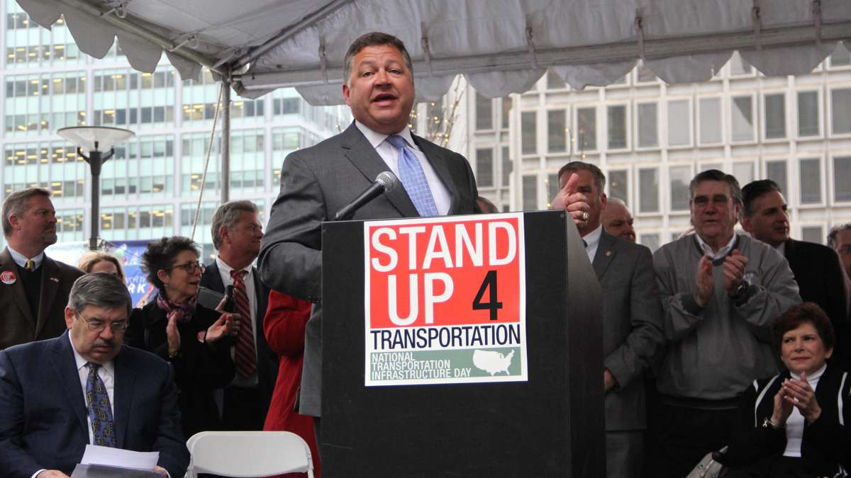 U.S. Rep Bill Shuster, chairman of the House Transportation and Infrastructure Committee, speaks at a rally on Dilworth Plaza urging federal funding for transportation infrastructure improvements. (Emma Lee/WHYY)
