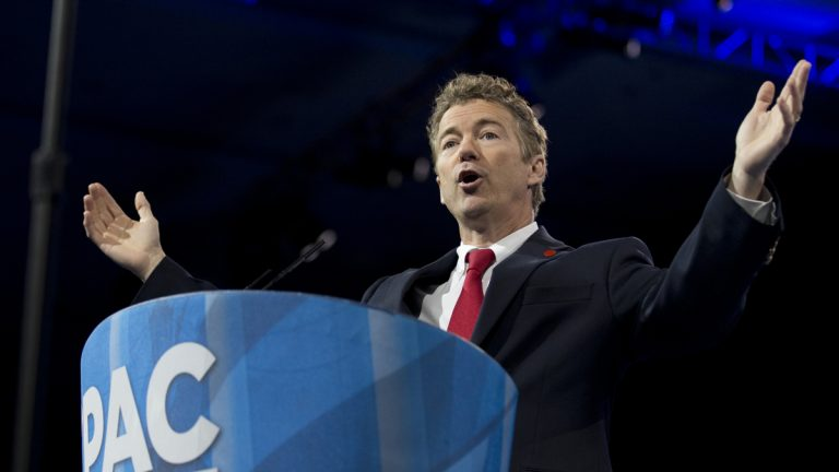 Sen. Rand Paul, R-Ky., is shown speaking at the 40th annual Conservative Political Action Conference in March. (AP Photo/Manuel Balce Ceneta, file)