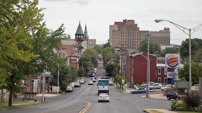 A view of downtown Reading from the 5th Street Bridge near Centre Avenue. (Lindsay Lazarski/WHYY)