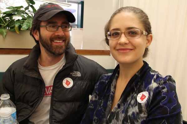 <p>Ari Barkan and Julia Murphy of Philadelphia both gave blood to help replenish the supply after Hurricane Sandy. (Emma Lee/for NewsWorks)</p>