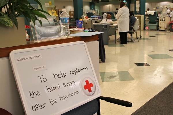 <p>The Philadelphia Blood Donor Center at 7th and Spring Garden streets keeps busy steady trickle of donors wanting to help after Hurricane Sandy. (Emma Lee/for NewsWorks)</p>