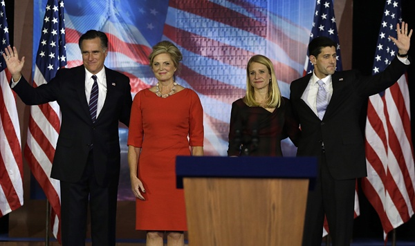<p>Republican presidential candidate and former Massachusetts Gov. Mitt Romney,   his wife Ann Romney, left and Republican vice presidential candidate, Rep. Paul Ryan, R-Wis., and his wife Janna wave to supporters on stage during Romney's election night rally, Wednesday, Nov. 7, 2012, in Boston. (AP Photo/David Goldman)</p>
