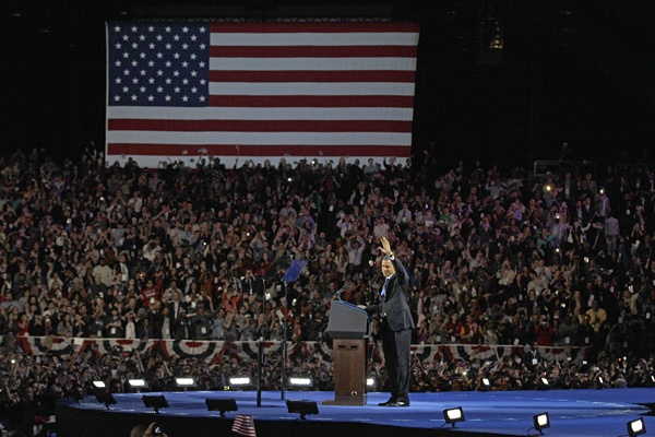 <p>President Barack Obama waves to his supporters at his election night party Wednesday, Nov. 7, 2012, in Chicago. President Obama defeated Republican challenger former Massachusetts Gov. Mitt Romney. (AP Photo/M. Spencer Green)</p>