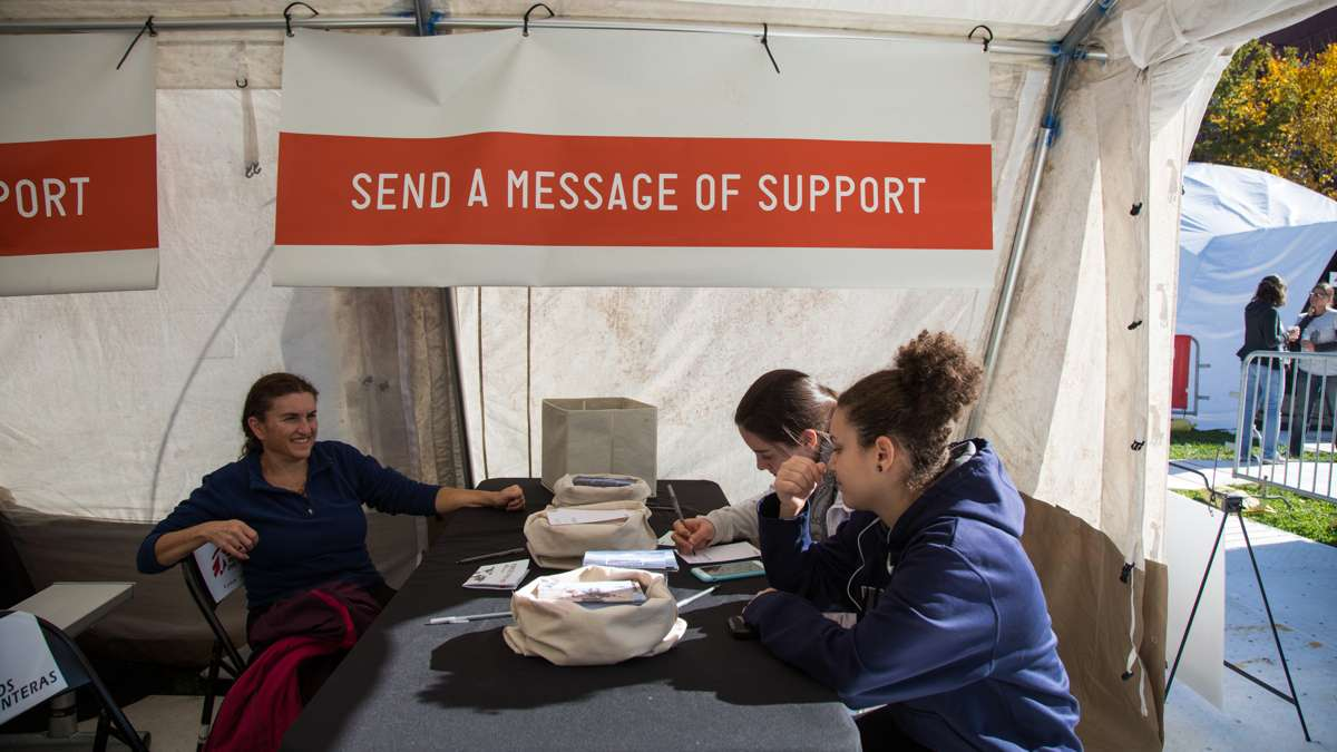 The last stop in the exhbit gives visitors a chance to write letters to MSF aid workers, sometimes something as simple as a joke or a thank you can lift the spirits of aid workers who are away from their families for months at a time.