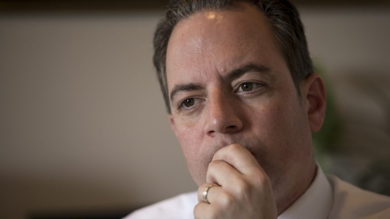 Republican National Committee Chairman Reince Priebus is shown answering questions from The Associated Press preceding presumptive GOP presidential nominee Donald Trump's meeting with Speaker of the House Paul Ryan, R-Wis., in May. (AP Photo/J. Scott Applewhite, file)