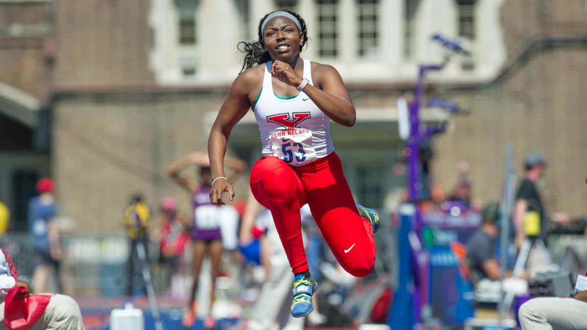 Youngstown State's Chandler Killins competes in the college women's triple jump.