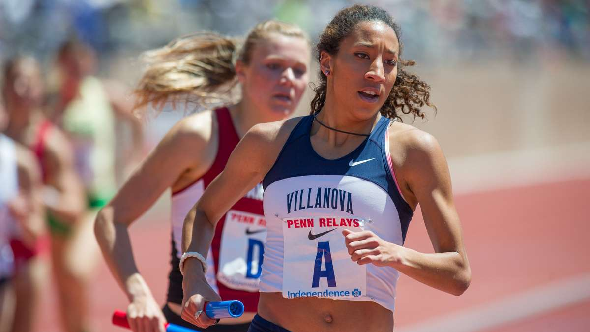 Villanova's Angel Piccirillo is challenged by Stanford's Malika Waschmann during the second leg of the college women's 4-by-1500 Championship of America Invitational. The Villanova women won the race with a time of 17:25.85.