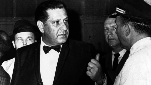Frank Rizzo was seen with a nightstick tucked into his cummerbund as he directed police officers in Philadelphia, in this June 13, 1969 photo. (AP Photo)