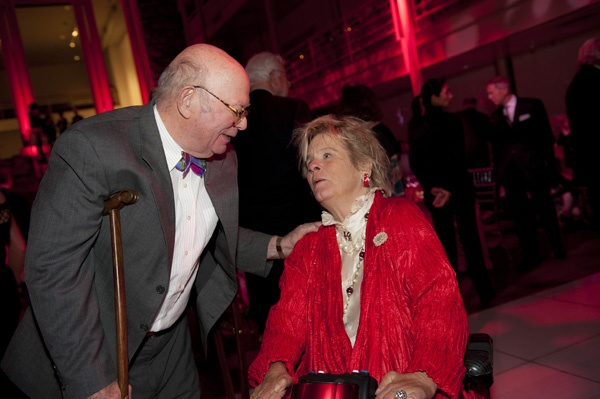 <p><p>Frolic Weymouth talks with Phyllis Wyeth at the Suzanne and Ralph Roberts' 70th wedding anniversary, held at the University of the Arts (Photo courtesy of Susan Beard Design)</p></p>