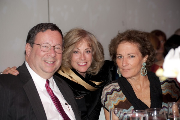 <p><p>David Cohen of Comcast, Rikki Saunders, and Gretchen Burke at Suzanne and Ralph Roberts' 70th wedding anniversary celebration (Photo courtesy of Susan Beard Design)</p></p>