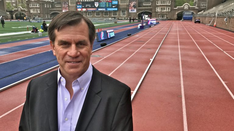 Roger Reina, senior associate athletic director at University of Pennsylvania, is coordinating the Penn Relays events. (Jennifer Lynn/WHYY)