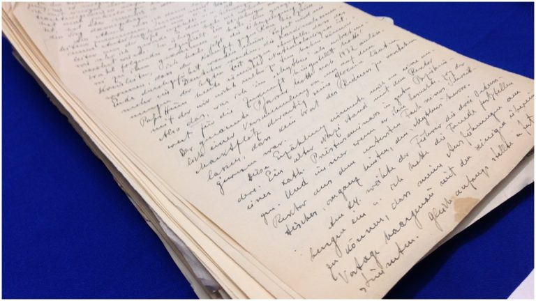 Seized diary pages of Alfred Rosenberg, one of the most influential members of the Nazi Party. (Nichelle Polston/WHYY)