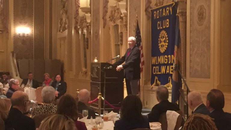 Sam Beard speaks to the Rotary Club about his nonprofit, GIFT. (Zoe Read/WHYY).