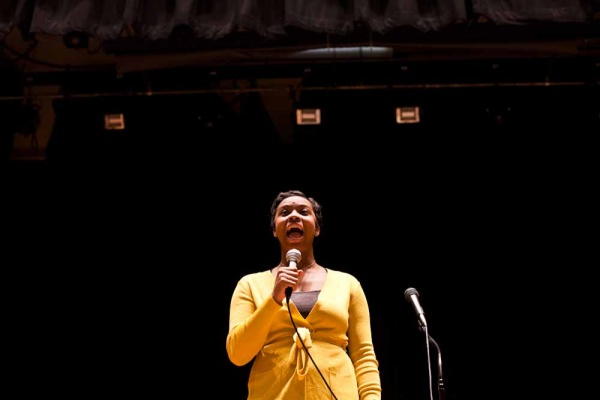 "<p><p>Kayla Hadley of Roxborough High School performs her rendition of ""All I Want For Christmas"" at the student concert hosted by Roxborough High on Tuesday. (Brad Larrison/For NewsWorks)</p></p>"